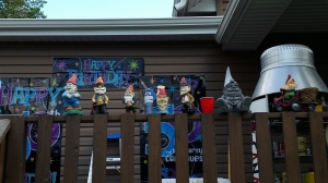 We went to a cousin's surprise 50th b-day. She hates gnomes, but better get used to them! It was great to see everyone.